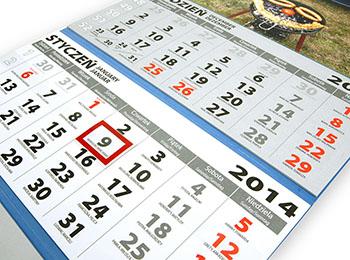 Estetyczne trwałe kalendarium trójdzielne, nie rozpada się jak w tanich kalendarzach nie robiąc antyreklamy Twojej firmie