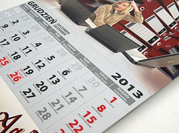 główka i plecy kalendarza trójdzielnego drukowane w jednym arkuszu!