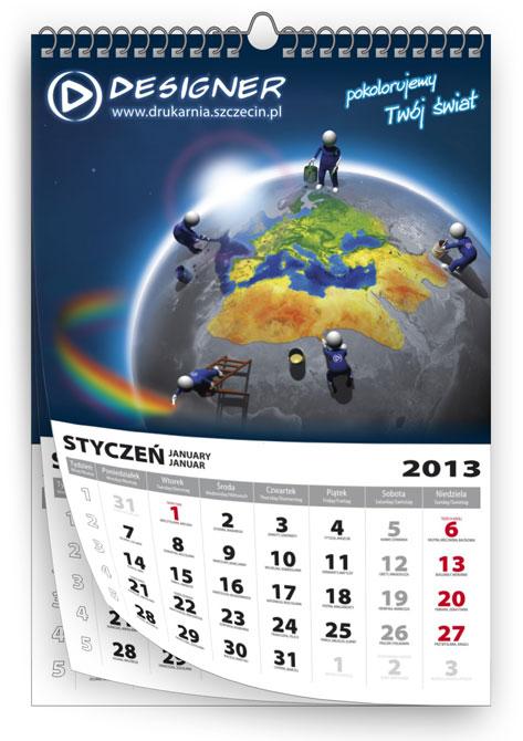 Indywidualnie drukowane kalendarze wieloplanszowe na spirali metalowej z zawieszką.