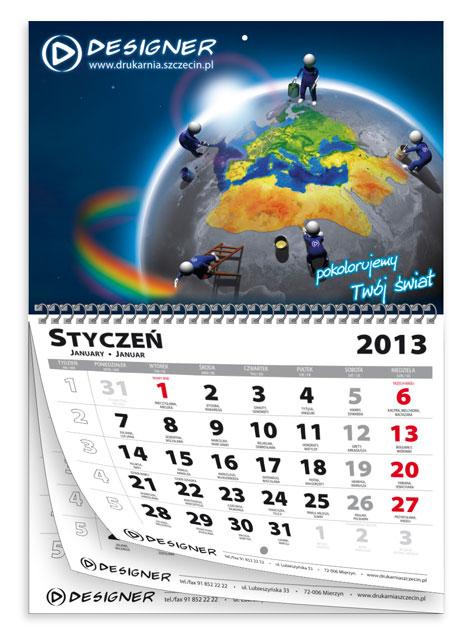 Indywidualnie drukowane kalendarze wieloplanszowe na spirali metalowej po środku.