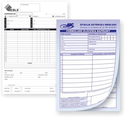 Bloczki, druki samokopiujące indywidualny druk, na zamówienie, cennik online.